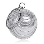 Flada Women's Ball Shape Crystal Evening Clutch Purse Wedding Party HandBags Silver