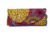 Yellow, Pink, Brown Cotton Ankara West African Tribal Wax Print Clutch