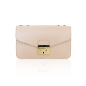 AMELIA Baugette clutch mini bag with light gold plated chain smooth leather Made in Italy