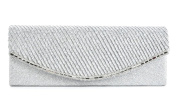 Silver Glittery Lace webbed Evening Clutch Bag
