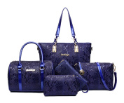 Yan Show Women's Shoulder Bags Totes Patent Leather Handbags With Matching Wallet Purse 5 Pieces Set /Blue