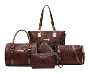 Yan Show Women's Shoulder Bags Totes Patent Leather Handbags With Matching Wallet Purse 5 Pieces Set /Brown