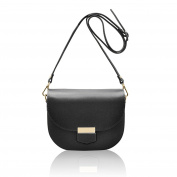HELEN Saddle crossbody mini bag grained stiff leather Made in Italy