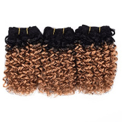 Afro Kinky Curly Hair Wefts (T1B/27) 3 Pieces 20cm 2 Tone Ombre Blended Hair Weaves