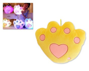 DSstyles Orignial Luminous Colourful Glow Paw LED Light Up Pillow Soft Cushion with Speaker - Yellow