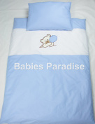 Babies 2 Piece Baby Bedding Set with Bear Pattern Balloon Blue/