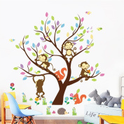 ElecMotive Cartoon Forest Animal Monkey Owls Fox Rabbits Hedgehog Tree Swing Nursery Wall Stickers Wall Murals DIY Posters Vinyl Removable Art Wall Decals for Kids Girls Room Decoration 110 x 90 cm