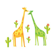 Winhappyhome Giraffes Wall Art Stickers for Kids Room Nursery Background Removable Decor Decals