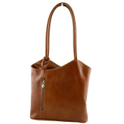 Made In Italy Genuine Leather Shoulder Bag Colour Cognac Tuscan Leather - Woman Bag