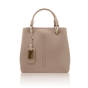 VALENTINA Tote handbag front stitching smooth stiff leather Made in Italy