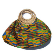 Yellow Blue Green Black Kente Cotton Ankara West African Tribal Wax Print Tote