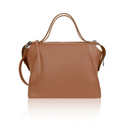 AMBER Bowler handbag with outer seams smooth leather Made in Italy