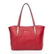 BOSTANTEN Leather Handbags Designer Shopper Tote Shoulder Bags for Women Red