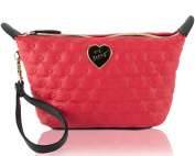 Betsey Johnson Women's Be Mine Trapezoid Wristlet Cosmetic Pouch - Red
