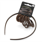 Eleven piece brown colour headband, snap clip, ponio and elastic hair accessories set.