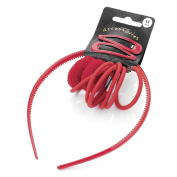 Eleven piece red colour headband, snap clip, ponio and elastic hair accessories set.