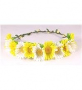 Boho flower head garland floral headdress flower garland festival wedding (large yellow and white) by BFD