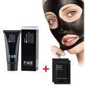 FaceApeel Facial Masks Facial Cures Black Mask Blackheads Peel Off Mask Deep Cleansing Pore Purifying Black Head Anti Acne Tear Type Blackhead Killer (60g) + 2PC Nose Mask