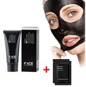 FaceApeel Facial Masks Facial Cures Black Mask Blackheads Peel Off Mask Deep Cleansing Pore Purifying Black Head Anti Acne Tear Type Blackhead Killer (60g) + 2PC Nose Mask