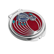 Compact Mirror in Mackintosh Two Roses Design. (Red) by Sea Gems presented by Celtic Glass Designs