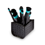 Brush Holder, Hifina Faux Crocodile Skin Makeup Cosmetic Brush Holder Container