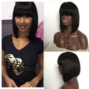 Royal-First 7A Glueless Brazilian Virgin Human Hair Lace Front Short Bob Wigs Silky Straight for Women with Bangs