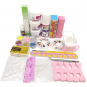 Warm Girl Full Nail Art Set Acrylic Glitter Powder Liquid Tip Brush Glue Dust Kit