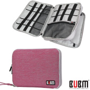 BUBM Universal Double Layer Cables Case for USB Cable Battery Charger Case Storage Mobile Disc Bag Travel Organiser Padded Electronic Case for iPad Mini - Rose Red & Light Grey