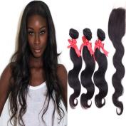 Yushuo Body Wave Brazilian Hair 3 Bundles 24 26 70cm Brazilian Hair Weave with Free Part Closure Colour Jet Black - Body Wave