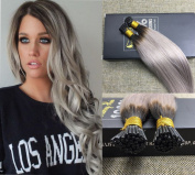 Sunny 50cm Natural Black Mixed Silver Grey Remy Stick Tip Hair Extensions Brazilian Human Hair I tip Extensions 1g/strand 50gram