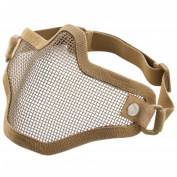 TRIXES Tactical Coyote Brown Metal Mesh Protective Half Mask Lower Face for Airsoft Wargames
