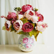 Liroyal Artificial Peony Silk Flowers Bouquet for Wedding Party Bouquet Decoration
