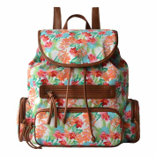Yiuswoy Canvas Backpack Printing Pattern Rucksack Laptop Bag College Bookbag School Bags for Women Teenager Girls - Flower