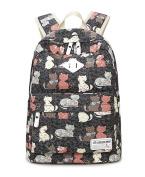 EchoFun Print Cute Cat School Canvas Backpack Book Padded Bags Students Rucksacks