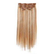 Nifty Girl 8pcs 41cm 100% Remy Human Hair Clip In Hair Extensions Full Head Straight Hairpiece 85g Dark Blonde & Light Blonde
