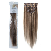 Emosa Clips in Remy Human Hair Extensions for Women Beauty Hot Sale (#4/27-medium brown mixed with dark blonde)