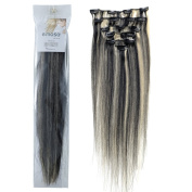 Emosa 100% Real Human Hair Remy Clip in Silky Soft Extensions #1/613 Jet Black Mixed with Blonde 7pcs 38cm