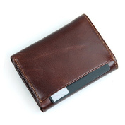 Everdoss Mens RFID Wallet Genuine Leather Trifold Purse Brown