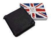 RFID BLOCKING Protection Black Genuine Leather J Wilson London Mens ZipAround Wallet With Coin Pocket Gift Boxed