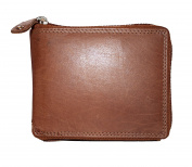 Mens 100% Leather Zip Around Wallet, Card Holder,Press Studded Coin Pocket EB 54