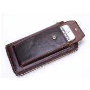Gendi Men's Genuine Leather Zip Around Long Clutch Purse Mens Zipper Business Billfold Wallet ID Credit Card Holder Money Clip Mobile Phone Pocket