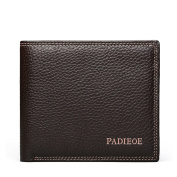 Padieoe Genuine Leather Short Wallet Classical Design Card Holder Luxury Brand Slim Bilfold Wallet Brown