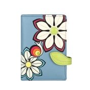 MENKAI Wallet purse RFID drawing flowers 772C2 Grey Blue
