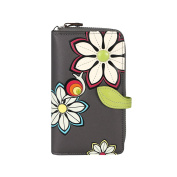 MENKAI Wallet purse RFID drawing flowers 772F2 Grey