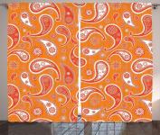 Ambesonne Burnt Orange Decor Collection, Islamic Paisley Ethnic Unusual Motifs with Eastern Oriental Patterns Decorative , Living Room Bedroom Curtain 2 Panels Set, 270cm X 210cm , Orange White