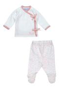 Hello Goodbye Print Side Tie Layette Set Colour