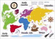 "Kids Learning World Map Artwork Room Decor Wall Sticker Decal15""W X 60cm H (1 piece)"