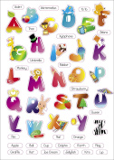 "Kids Learning Alphabet Artwork Room Decor Wall Sticker Decal15""W X 60cm H (1 piece)"