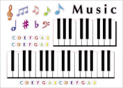 "Kids Learning Piano Notes & Keys Artwork Room Decor Wall Sticker Decal15""W X 60cm H (1 piece)"