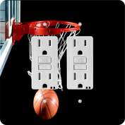 Rikki Knight Basketball in hoop Design Double GFI Light Switch Plate